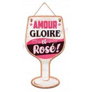 Pancarte en forme de verre de vin rosé