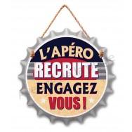 Pancarte en forme capsule L'apéro recrute Engagez-vous