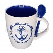 Mug avec cuillère ancre de bateau