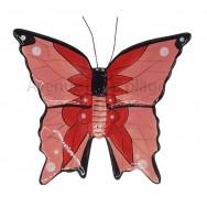 Papillon décoratif rose et rouge 15 cm