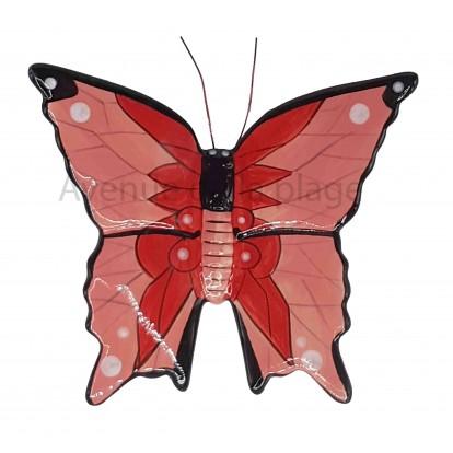 Papillon décorartif rose et rouge 15 cm