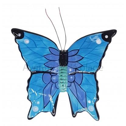 Papillon décorartif bleu et violet 15 cm