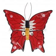 Papillon mural rouge et blanc 15 cm