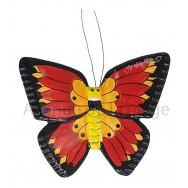 Papillon décoratif rouge, jaune et noir 18 cm