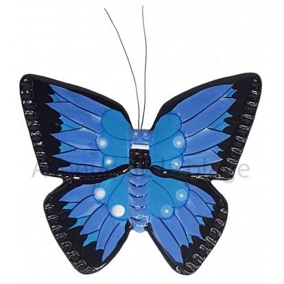 Papillon à accrocher violet, bleu et noir 18 cm