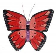 Papillon à suspendre rouge, rose et noir 18 cm