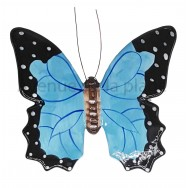 Papillon décoratif bleu et noir 19 cm