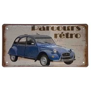 Plaque vintage 2cv parcours rétro