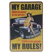 Plaque vintage Pin-up Mon garage Mes règles
