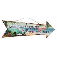 Flèche décorative Combi vert et hisbiscus sur la plage