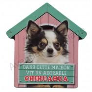 Pancarte Dans cette maison vit un adorable Chihuahua à poil long