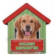Pancarte métal Dans cette maison vit un super Golden Retriever