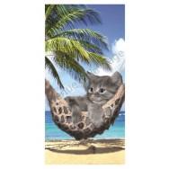 Serviette de plage chaton dans son hamac