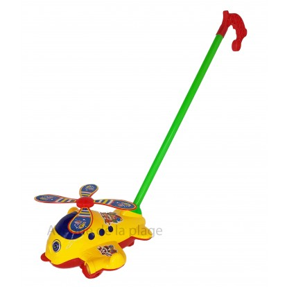 Rouleur hélicoptère jaune qui tire la langue