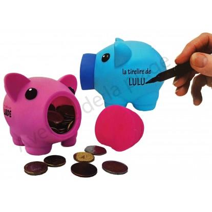 Tirelire cochon à personnaliser violet