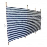 Paravent de plage bleu marine et blanc 400 x 90 cm