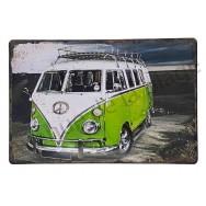 Plaque vintage Camper Van vert