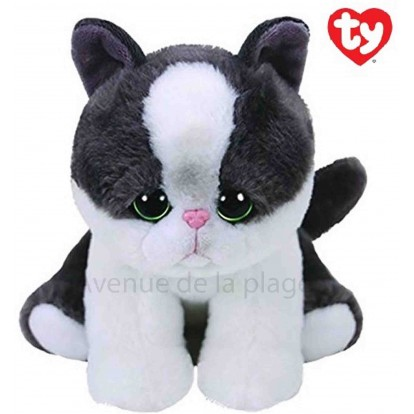 Peluche Ty original beanies Yang le chat blanc et gris 14 cm