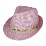 Chapeau borsalino enfant rose bandeau fleuri
