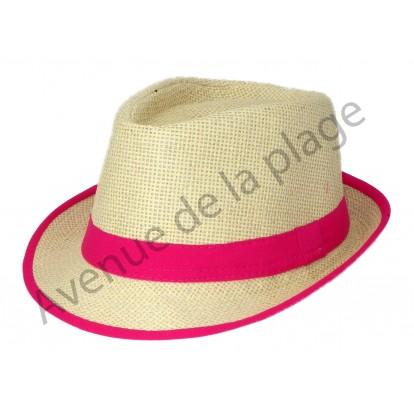 Chapeau borsalino bande colorée pour enfant rose