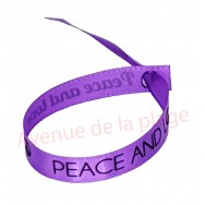 Bracelet ruban message Peace and Love