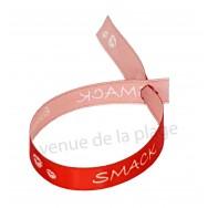 Bracelet ruban message Bisous Smack