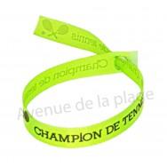 Bracelet ruban message Champion de tennis
