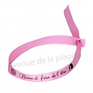 Bracelet ruban message Brune et fière de l'être