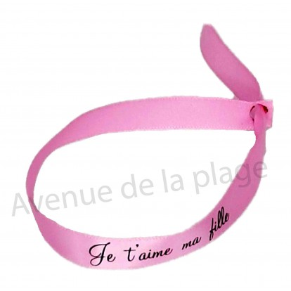 Bracelet ruban message Je t'aime ma fille