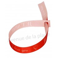 Bracelet ruban message Je t'aime - I love you