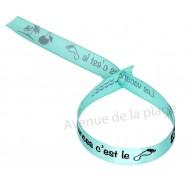 Bracelet ruban message Les vacances c'est le pied