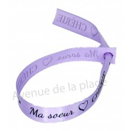 Bracelet ruban message Ma soeur chérie