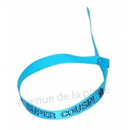Bracelet ruban message Super cousin