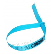 Bracelet ruban message Super cousine