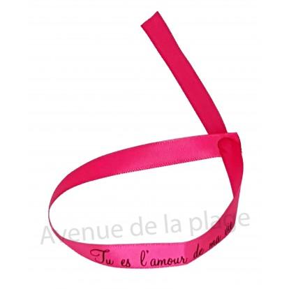 Bracelet ruban message Tu es l'amour de ma vie