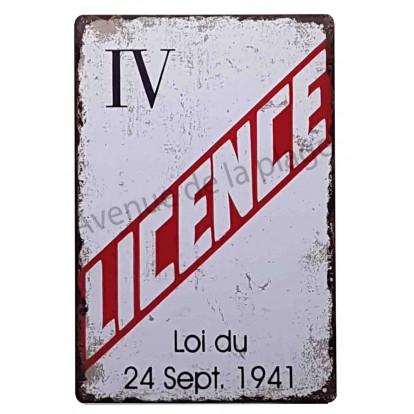 Plaque vintage Licence IV