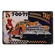 Plaque vintage Pin up et taxi de New-York