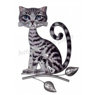 Chat gris assis sur branche 23 cm à accrocher A