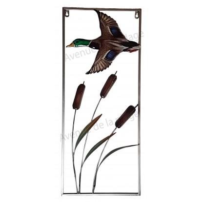 Cadre canard et roseaux en métal à accrocher