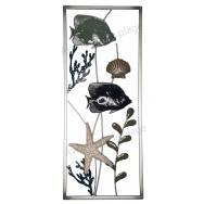 Cadre poisson et corail en métal 61 cm