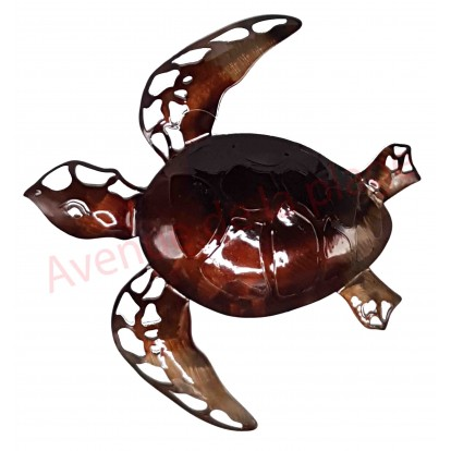 Tortue de mer en métal marron 31 cm à accrocher