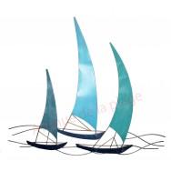 Décoration murale voiliers bleus en métal 80 cm