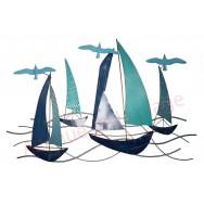Décoration murale voiliers bleus et mouettes en métal 93 cm