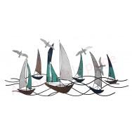 Décoration murale voiliers et mouettes en métal industriel 134 cm