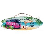 Surf à suspendre Combi rose et noir sur la plage