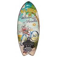 Décapsuleur mural surf vélo bleu à la plage Aloha