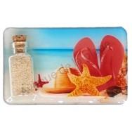 Magnet bouteille de sable et tongs sur la plage