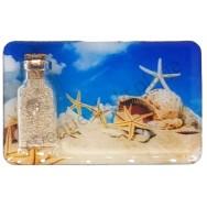 Magnet bouteille sable et étoiles de mer sur la plage