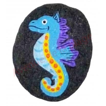 Magnet galet hippocampe bleu