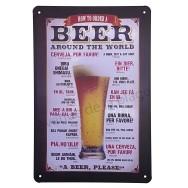 Plaque métal Comment commander une bière dans le monde